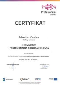 Certyfikat - profesjonalna obsługa e-klienta